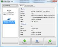 USB Image Tool showing a SanDisk USB stick and a Card Reader drive